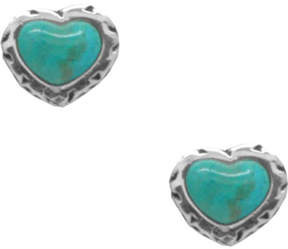 Barse Women's Genuine Turquoise Heart Stud Earring SILHE16T01S