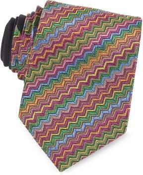 Missoni Diagonal Zig Zag Woven Silk Narrow Tie