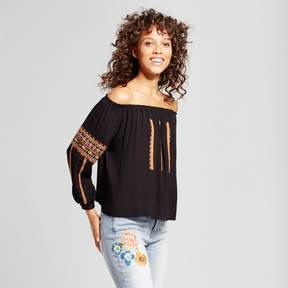 Cliche Women's Off the Shoulder Embroidered Top Black
