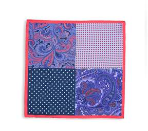 Saks Fifth Avenue Made in Italy Men's Mixed-Print Silk Pocket Square