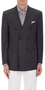 Luciano Barbera MEN'S CHECKED WOOL DOUBLE-BREASTED SPORTCOAT