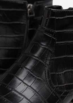 MANGO Croc-effect ankle boots