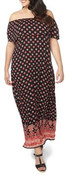 Evans Plus Size Women's Border Print Maxi Dress