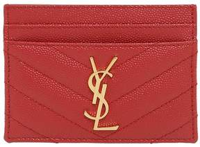 Saint Laurent Quilted Monogram Leather Card Holder - RED - STYLE