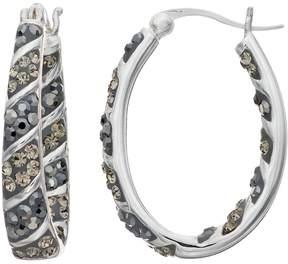 Confetti Crystal Inside-Out Oval Hoop Earrings