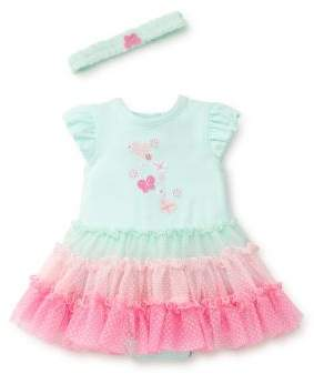 Little Me Baby Girl's Three-Piece Butterfly Headband, Dress and Bloomer Set
