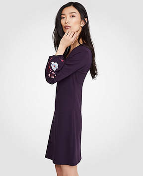 Ann Taylor Embroidered Sleeve Flare Dress