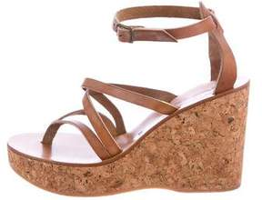 K Jacques St Tropez Leather Wedged Sandals