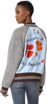 Rodarte Los Angeles Poppy Embroidery Bomber Jacket