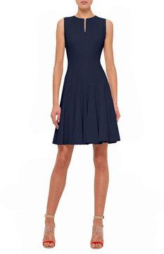 Akris Sleeveless Fit-&-Flare Zip Dress, Navy