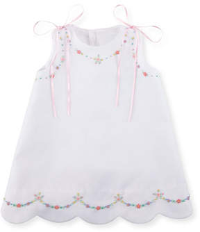 Luli & Me Pique Dress w/ Floral Embroidery, Size 3-18 Months