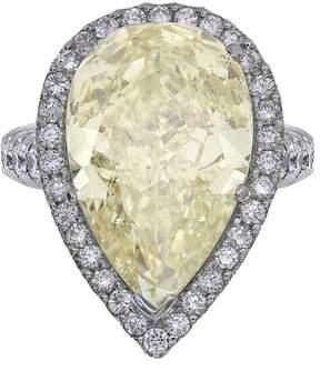 Platinum 14.24ct Yellow Pear Shape Diamond Engagement Ring Size 7.5