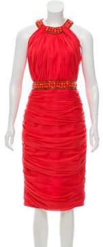 Carmen Marc Valvo Embellished Pleated Midi Dress