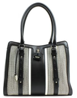 London Fog Lancaster Woven Vegan Leather Triple Tote