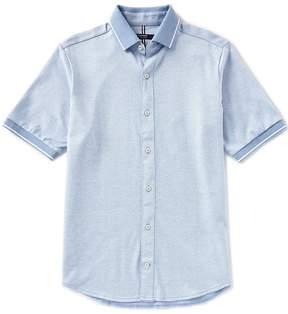 Daniel Cremieux Solid Jacquard Short-Sleeve Woven Shirt