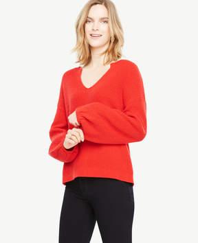 Ann Taylor Split Neck Balloon Sleeve Sweater