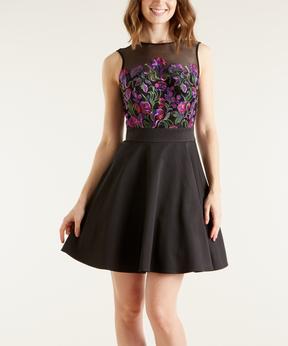 Bebe Black Floral Cutout-Back Fit & Flare Dress