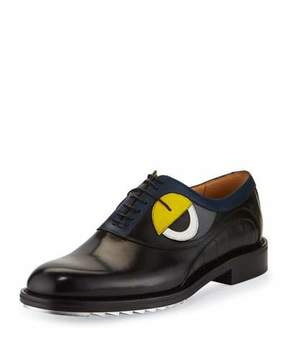 Fendi Monster-Eye Leather Silver-Bottom Lace-Up Derby Shoe, Black