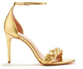 Rachel Zoe | Ashton Braided Metallic Leather Heeled Sandals | 6.5 us | Silver