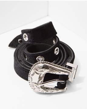 7 For All Mankind | B-Low The Belt Baby Frank Velvet Belt In Black And Silver | M