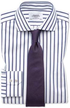 Charles Tyrwhitt Slim Fit Spread Collar Non-Iron Bengal Wide Stripe White and Blue Cotton Dress Shirt French Cuff Size 14.5/33