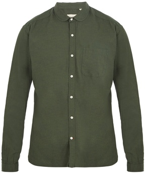 Oliver Spencer Eton round-collar flannel-cotton shirt