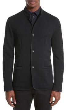Armani Collezioni Men's Jacquard Button Front Sweater