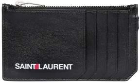 Logo Printed Zip Leather Wallet