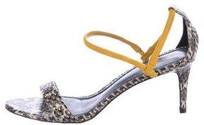 Sandro Snakeskin Ankle-Strap Sandals