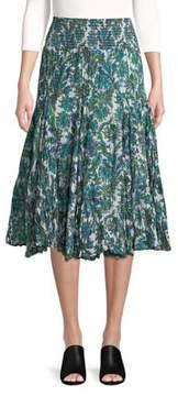 Context Pleated Paisley Floral Midi Skirt