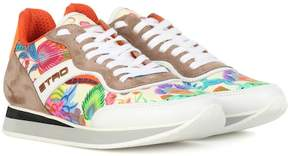 Etro Printed leather and suede sneakers