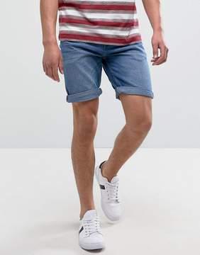Pull&Bear Slim Fit Denim Shorts In Light Blue Wash