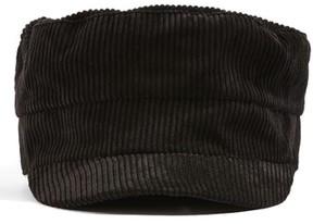 Topshop Women's Corduroy Baker Boy Hat - Black