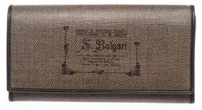 Bvlgari Pre Owned Dark Brown Coated Canvas Graphic Print Long Wallet.
