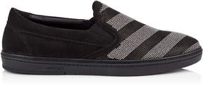 Jimmy Choo GROVE Black Perforated Leather Slip On Trainers with Silver Chevron Studs