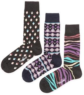Happy Socks Men's Intarsia Cotton Socks (3 PK)