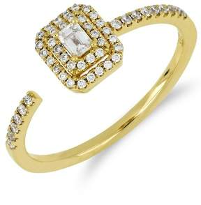 Bony Levy 18K Yellow Gold Faceted Baguette & Halo Set Diamond Detail Open Ring