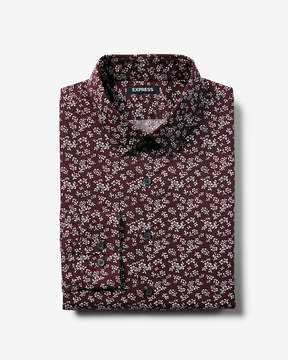 Express Slim Floral Print Dress Shirt