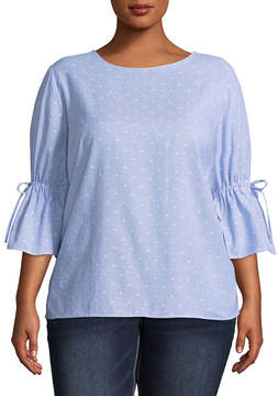 Boutique + + Tie Sleeve 3/4 Sleeve Crew Neck Woven Blouse - Plus