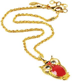 Amrita Singh Red & Goldtone Owl Pendant Necklace