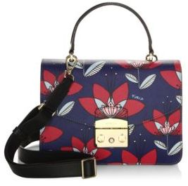 Furla Metropolis Multicolor Floral Leather Satchel