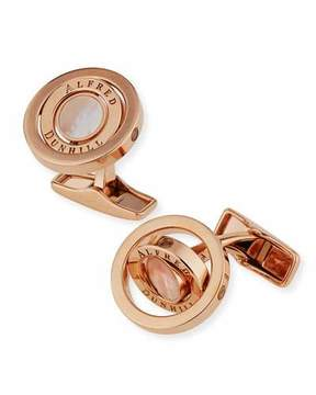 Dunhill Rose Golden Gyro Cuff Links with Mother of Pearl