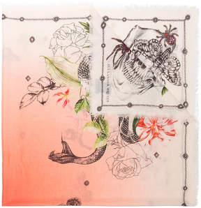 Alexander McQueen Multicoloured Botanical Print Wool Scarf