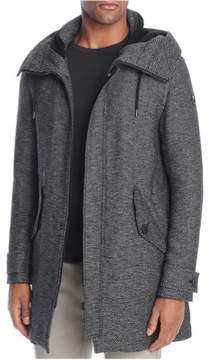 HUGO BOSS Mens Striped Pea Coat Black 44