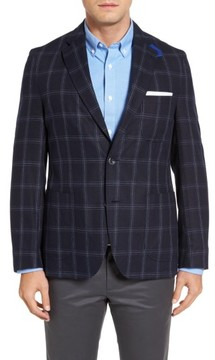 Kroon Men's White Classic Fit Check Silk Sport Coat