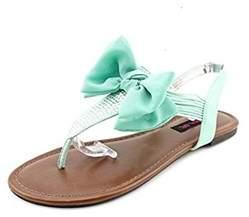 Material Girl Womens Skylar Fabric Open Toe Casual Flat Sandals.