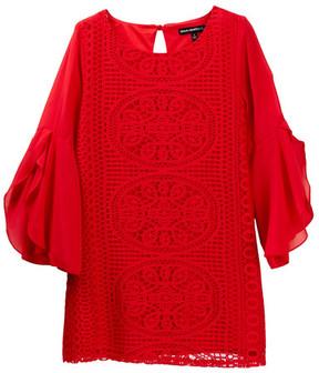 My Michelle mymichelle Crochet Front Bell Sleeve Dress (Big Girls)