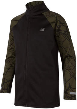 New Balance Black & Military Green Fractured Hooded Track Jacket - Boys