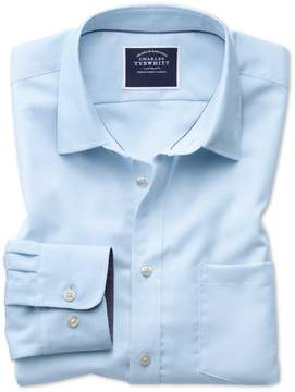 Charles Tyrwhitt Classic Fit Non-Iron Oxford Light Blue Plain Cotton Casual Shirt Single Cuff Size XL