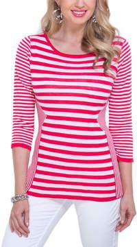 Belldini White & Watermelon Stripe Top - Women